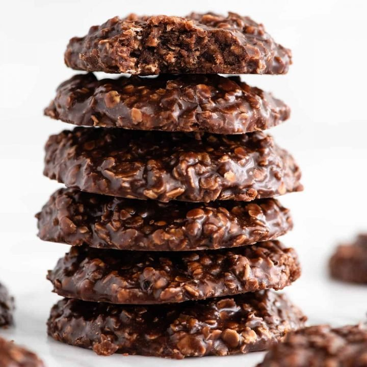 front view of a stack of 6 no bake cookies