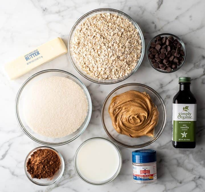 overhead view of the ingredients in this no bake cookies recipe