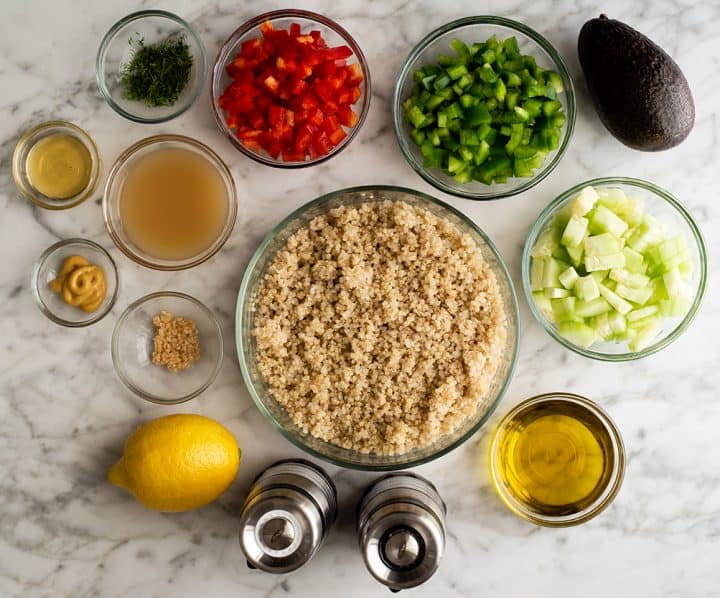 photo of the ingredients in this quinoa salad