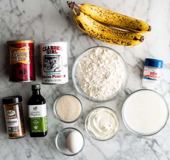 overhead view of the ingredients in this banana pancakes recipe
