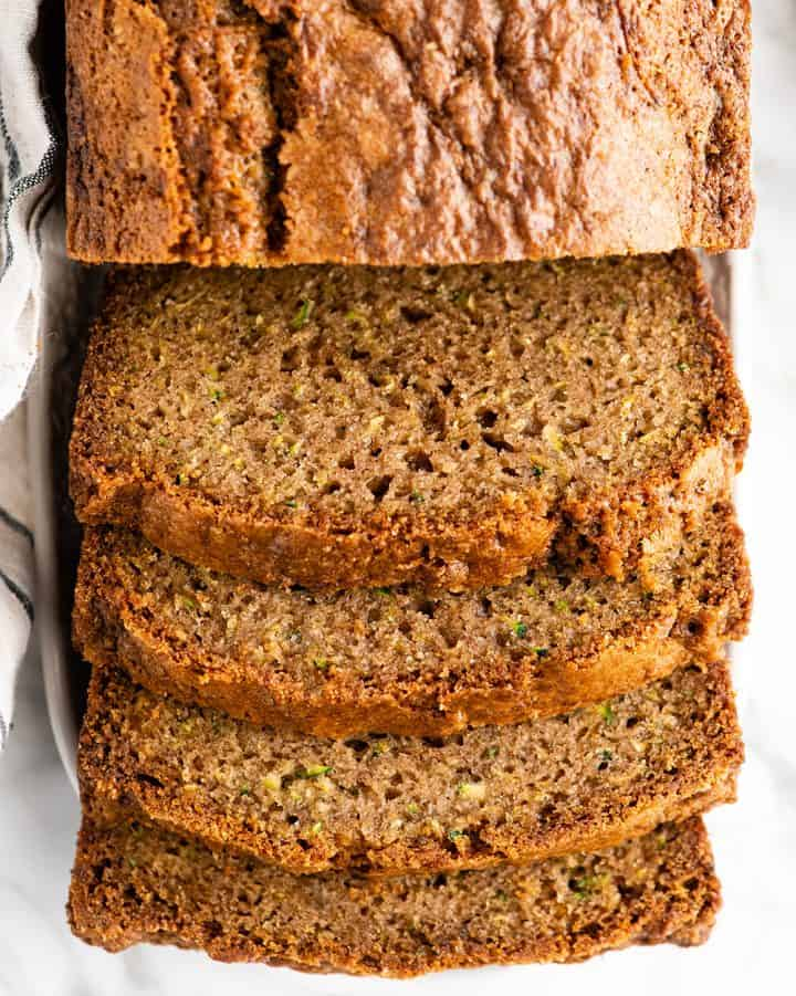 overhead view of 4 slices of zucchini bread