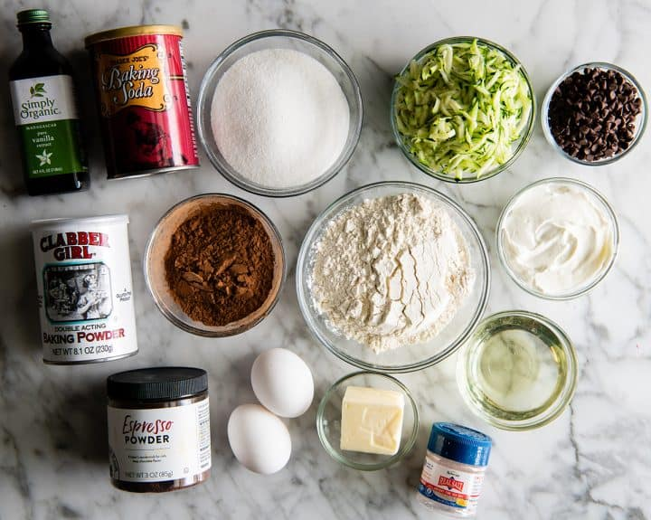 overhead view of the ingredients in this chocolate zucchini cake recipe