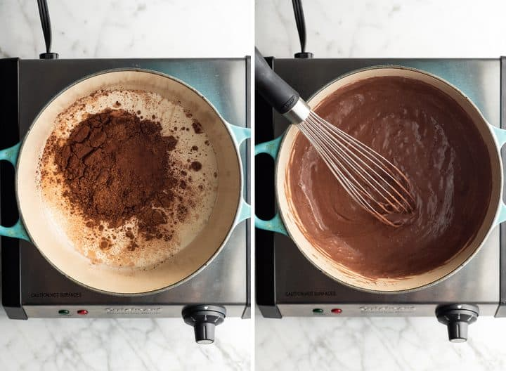 two photos showing how to make chocolate ice cream