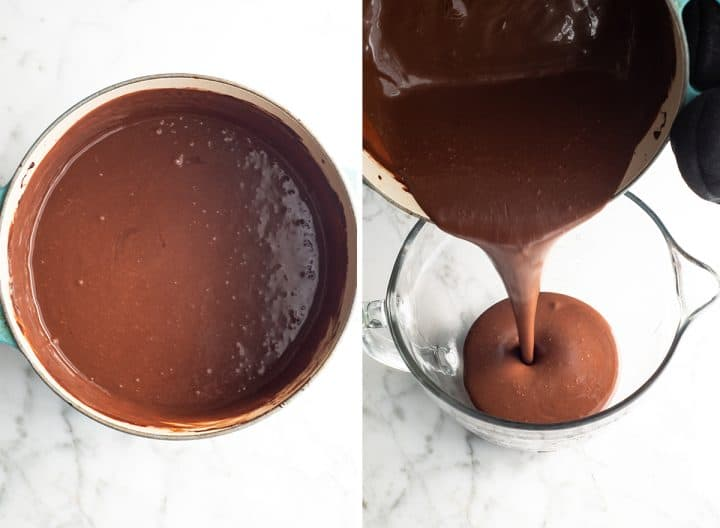 two photos showing how to make homemade chocolate ice cream