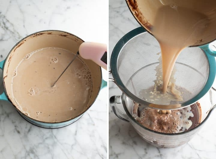 two photos showing how to make this chocolate ice cream recipe