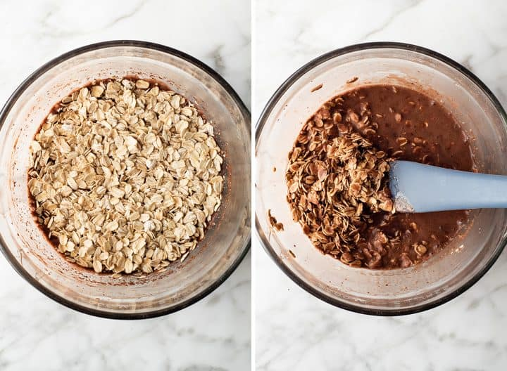 two overhead photos showing how to make chocolate overnight oats