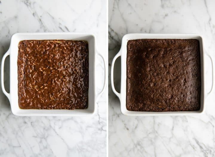 two overhead photos showing how to make chocolate zucchini cake