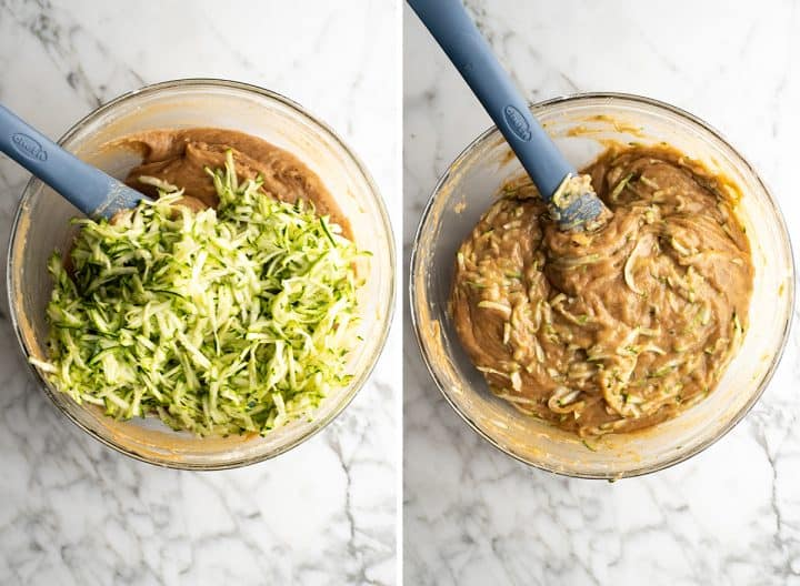 two overhead photos how to make zucchini bread