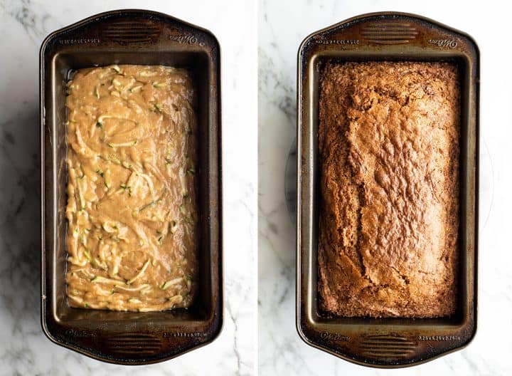 two overhead photos showing how to make zucchini bread