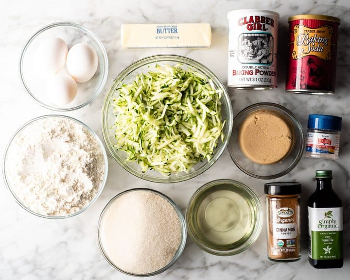overhead view of the ingredients in this zucchini bread recipe