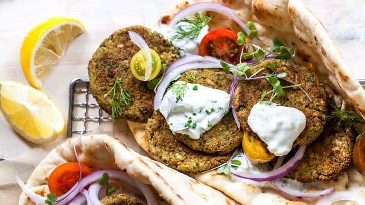 overhead view of baked falafel in pita bread