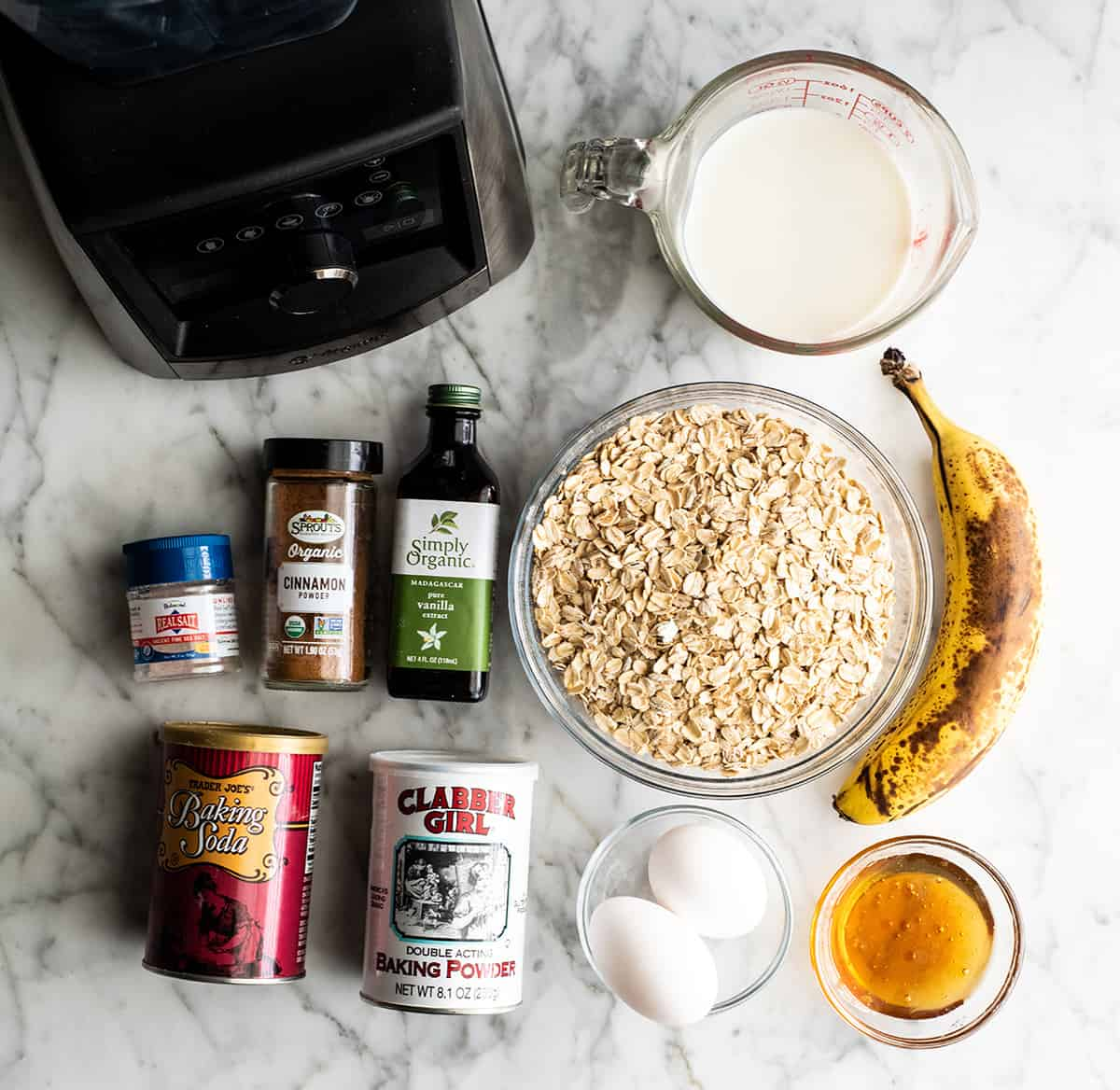 overhead view of the ingredients in this banana oatmeal pancakes recipe