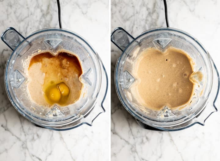 two overhead photos showing how to make oatmeal pancakes in a blender