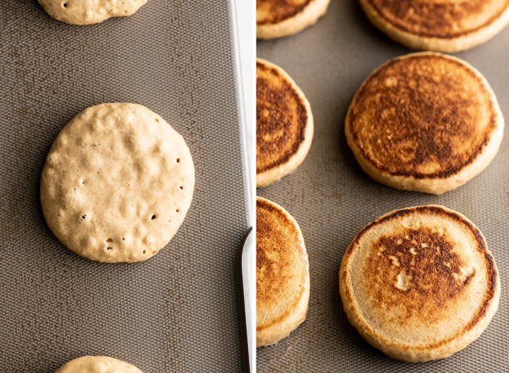 two photos showing how to make banana oatmeal pancakes on a griddle