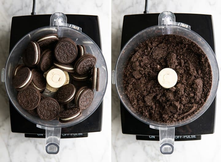 two overhead photos showing how to make Oreo balls