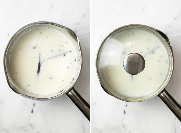 two overhead photos showing how to make vanilla ice cream