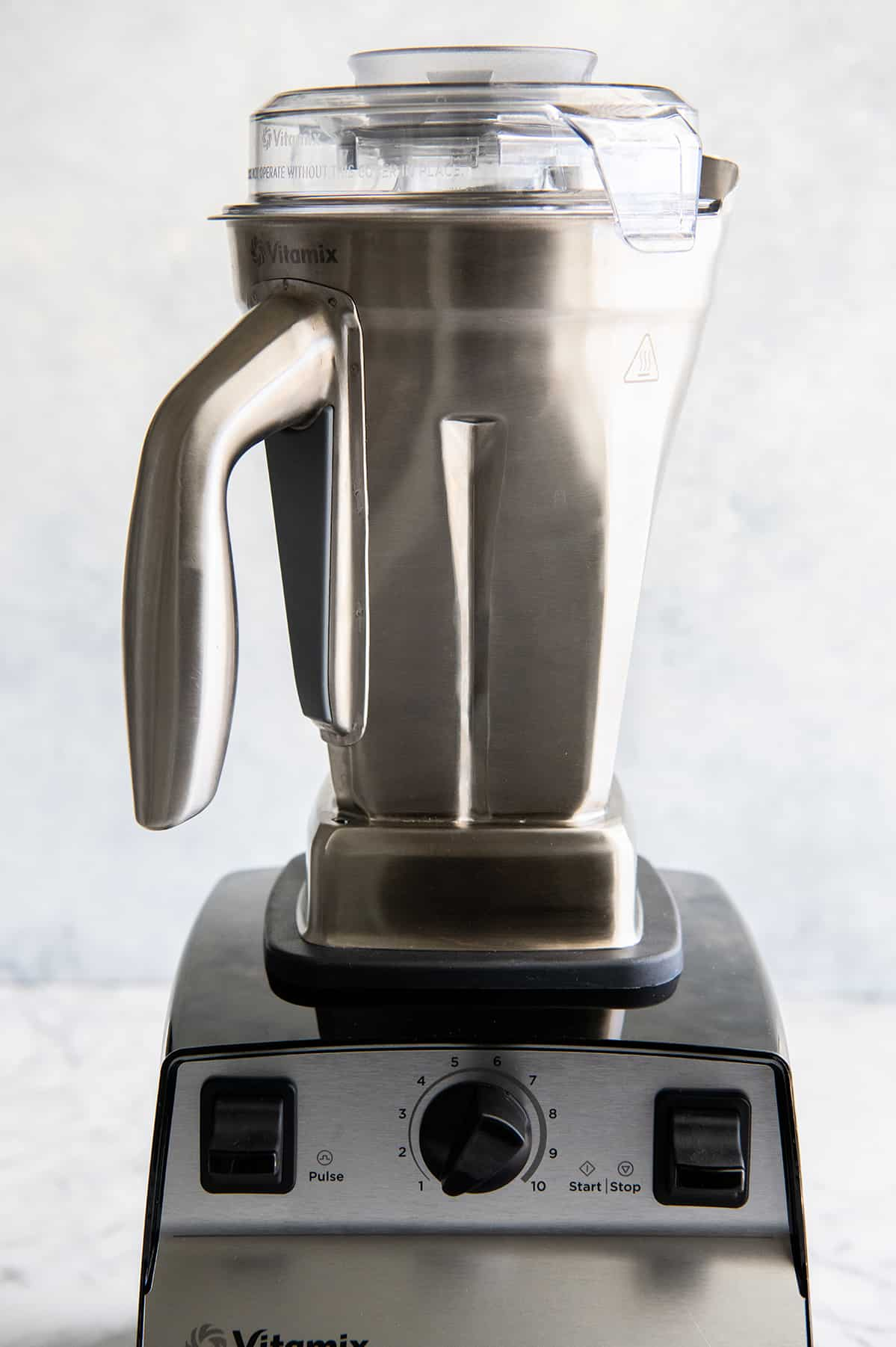 front view of the Vitamix stainless steel container on the Vitamix 5300 blender