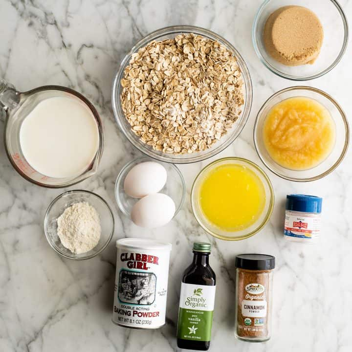 overhead view of the ingredients in this Baked Oatmeal Recipe