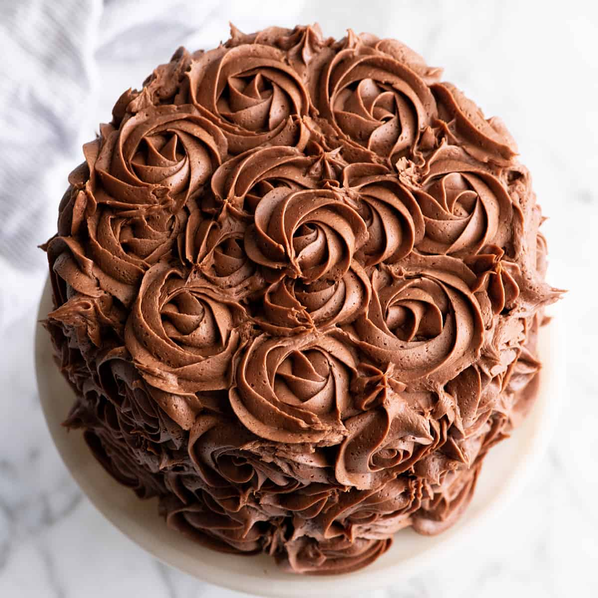 overhead photo of a cake frosting with Chocolate Buttercream Frosting roses