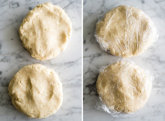 two overhead photos showing how to make a chicken pot pie crust