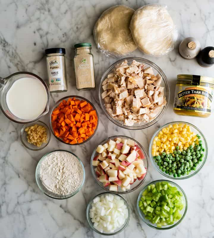 overhead photo of the ingredients in this chicken pot pie recipe