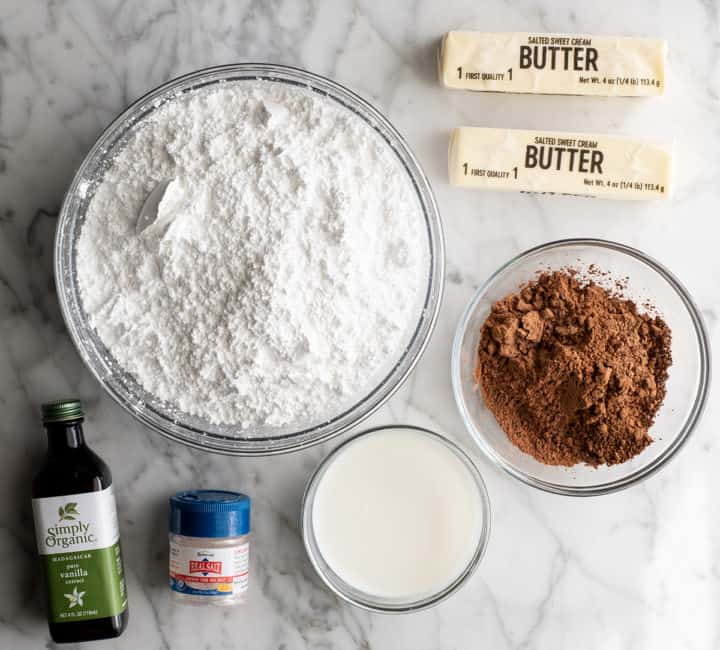 overhead photo of the ingredients in this chocolate frosting recipe