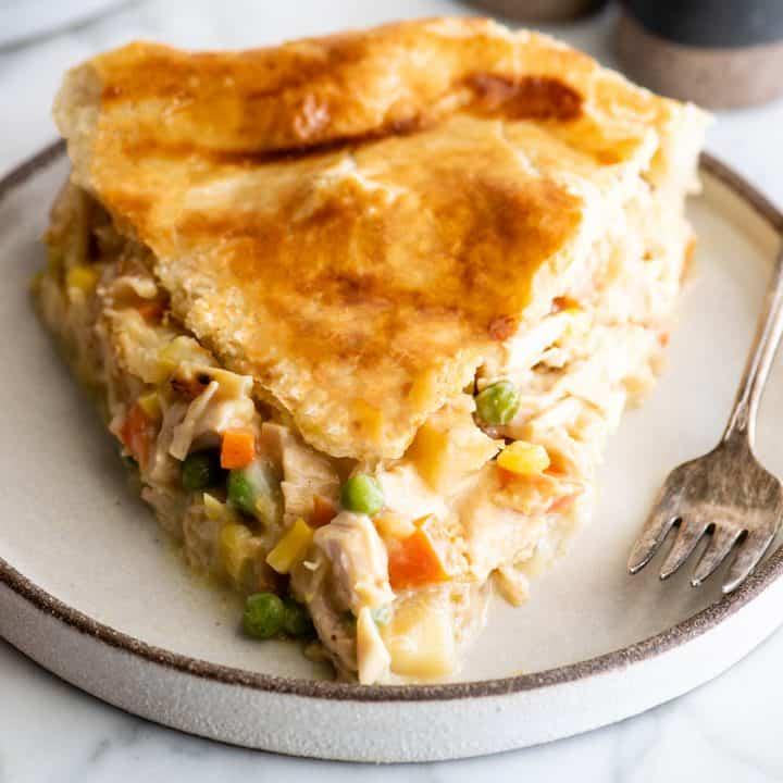 slice of chicken pot pie in a plate
