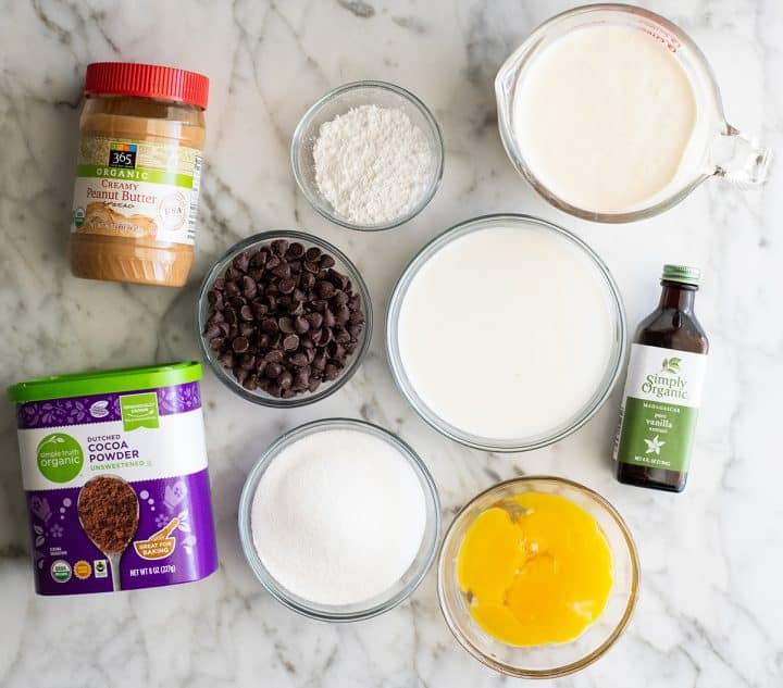 overhead view of the ingredients in this Homemade Chocolate Peanut Butter Ice Cream recipe