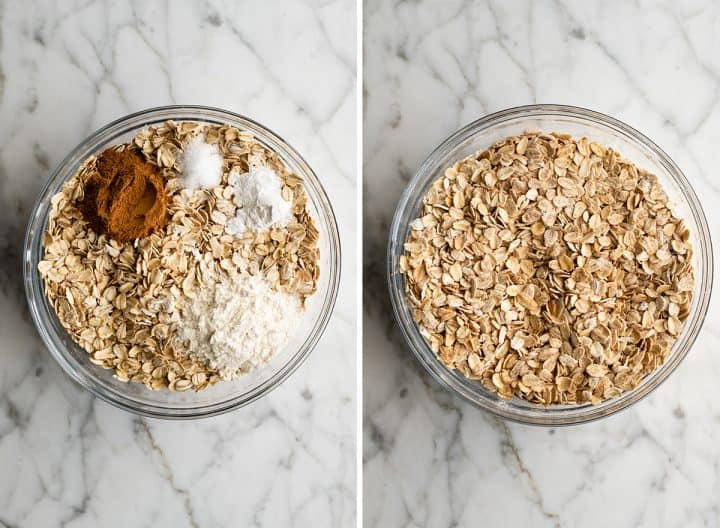 two overhead photos showing how to make baked oatmeal