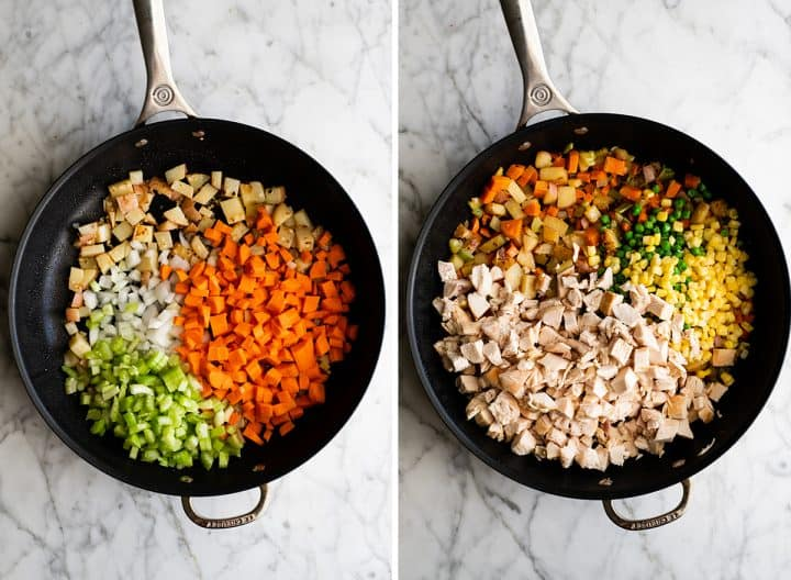 two overhead photos showing how to make chicken pot pie