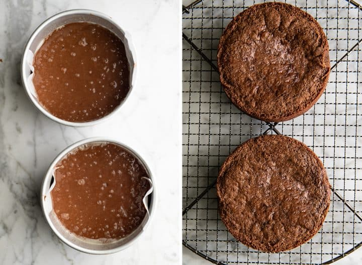 two overhead photos showing how to make chocolate cake from scratch