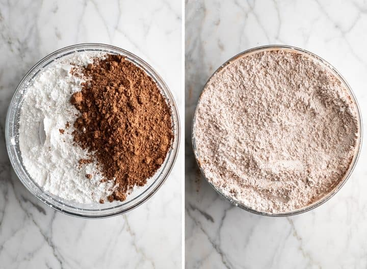 two overhead photos showing how to make chocolate frosting