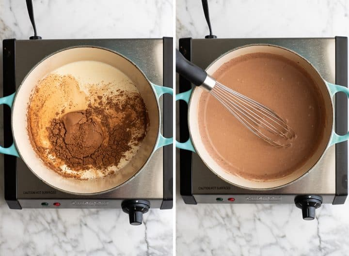 two overhead photos showing how to make Homemade Chocolate Peanut Butter Ice Cream