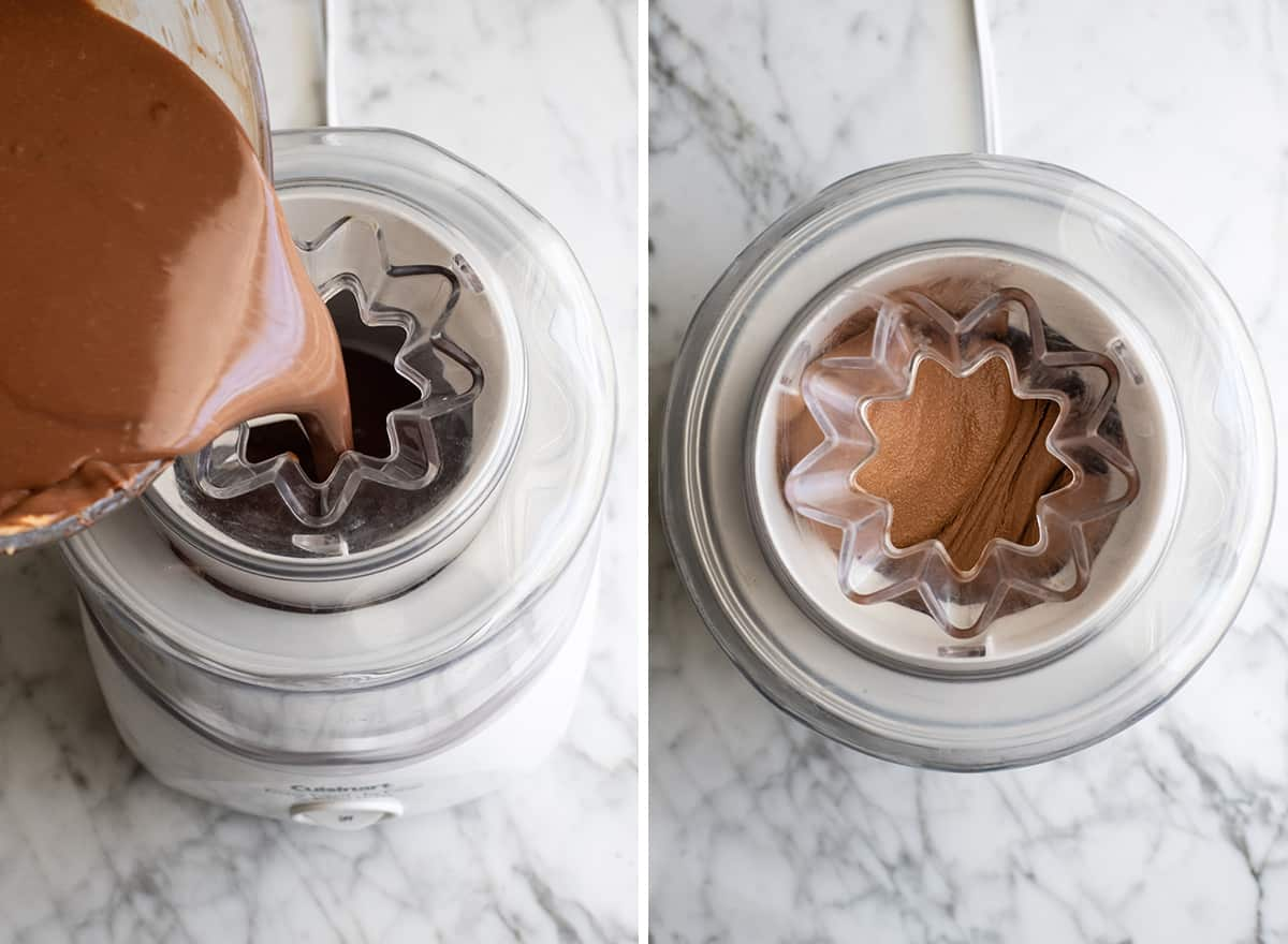 two overhead photos showing Homemade Chocolate Peanut Butter Ice Cream churning in an ice cream maker