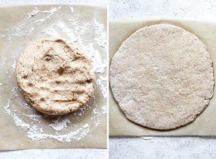 two overhead photos showing how to make whole wheat pizza dough