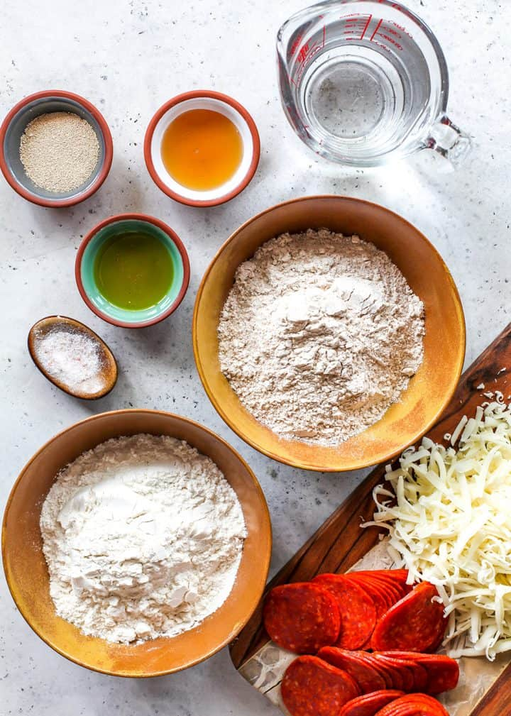 overhead view of the ingredients in this whole wheat pizza dough recipe