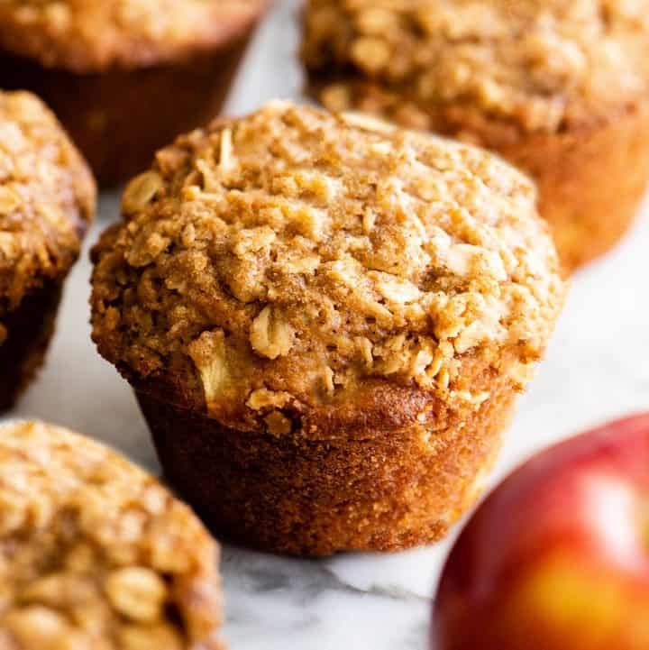 cinnamon apple muffin with a crumb topping