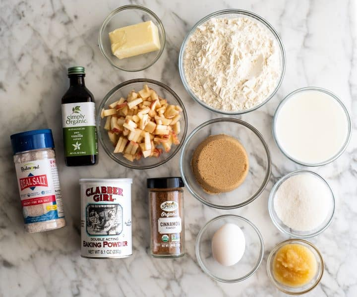 Overhead view of the ingredients in this apple muffins recipe