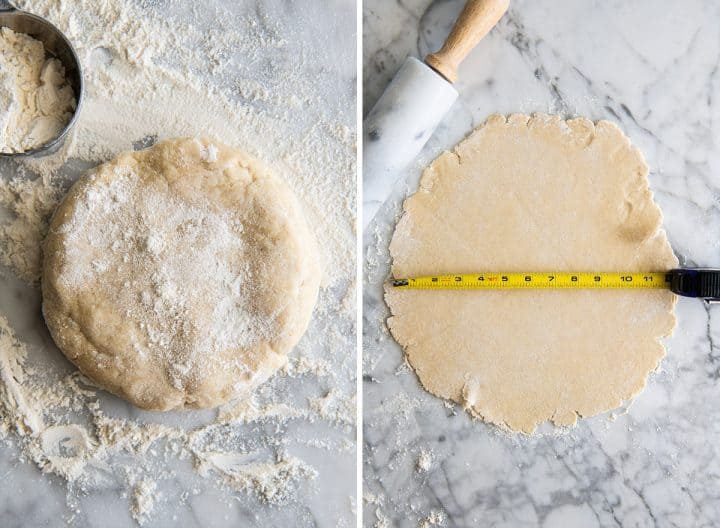 two overhead photos showing how to make a galette crust