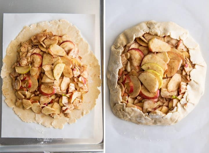 to overhead photos showing how to make this apple galette recipe