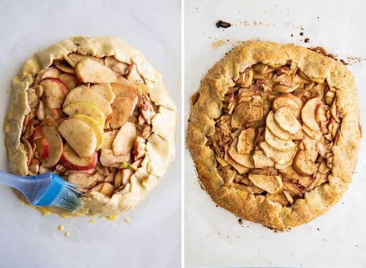 two overhead photos showing how to make an apple galette