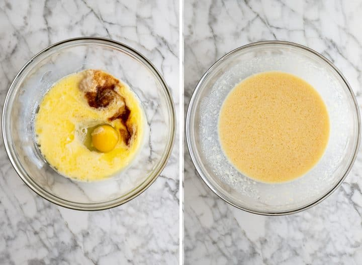 two overhead photos showing how to make apple cinnamon muffins