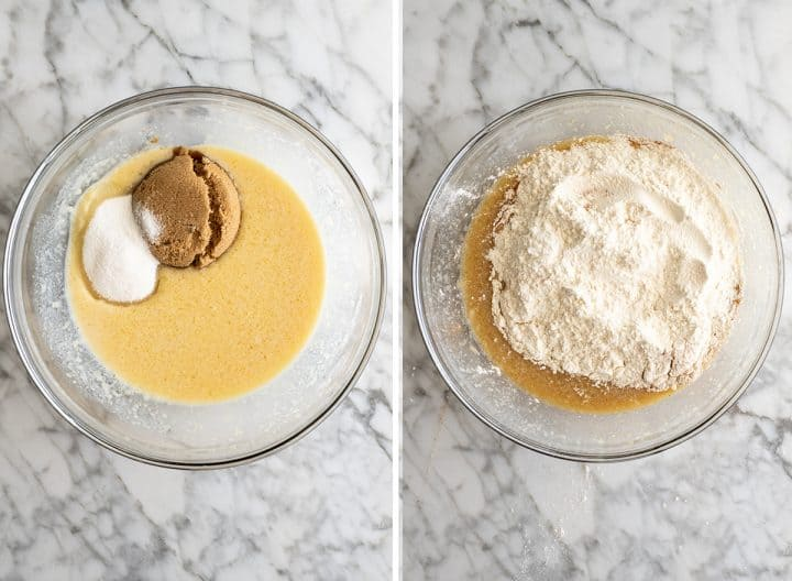 two overhead photos showing how to make apple muffins