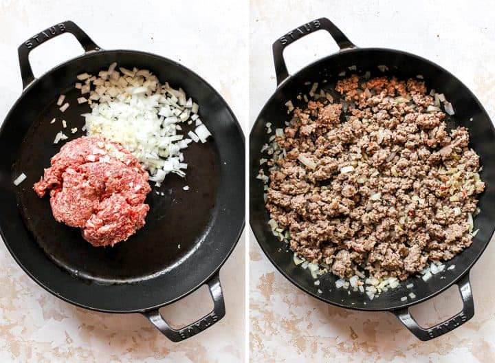 two overhead photos showing how to make sausage dip