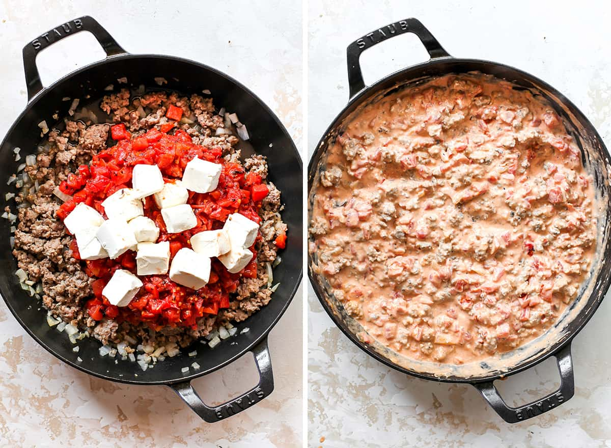 two overhead photos showing how to make Cream Cheese Sausage Dip