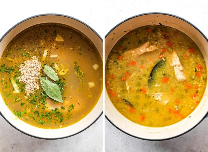 two overhead photos showing how to make chicken and rice soup