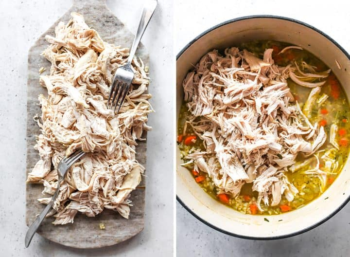 two overhead photos showing how to make chicken rice soup