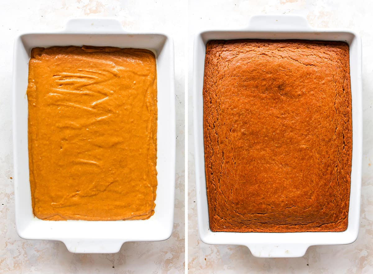 two overhead photos showing how to make Pumpkin Cake