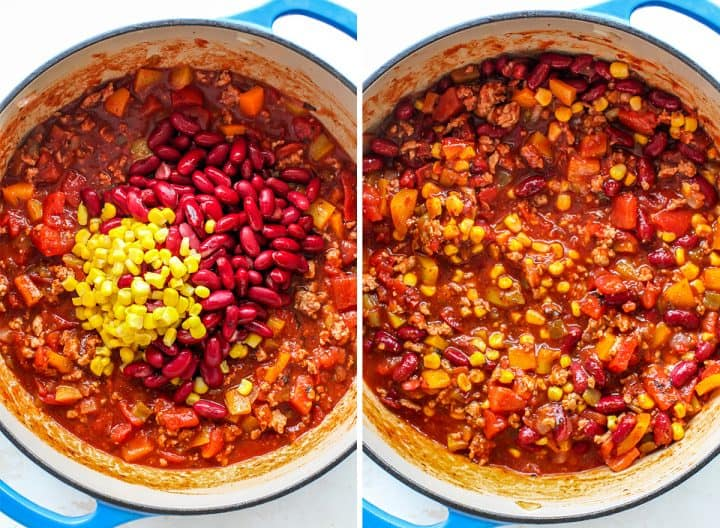 two overhead photos showing How to Make Turkey Chili