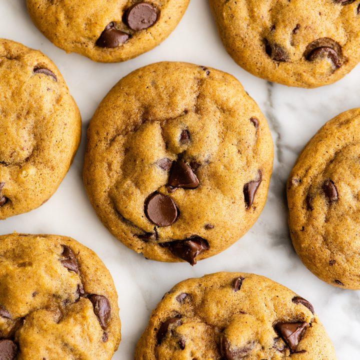 overhead photo of 6 Pumpkin Chocolate Chip Cookies